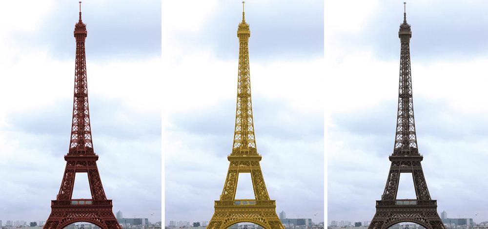 Żółta wieża Eiffla Czerwona wieża Eiffla
