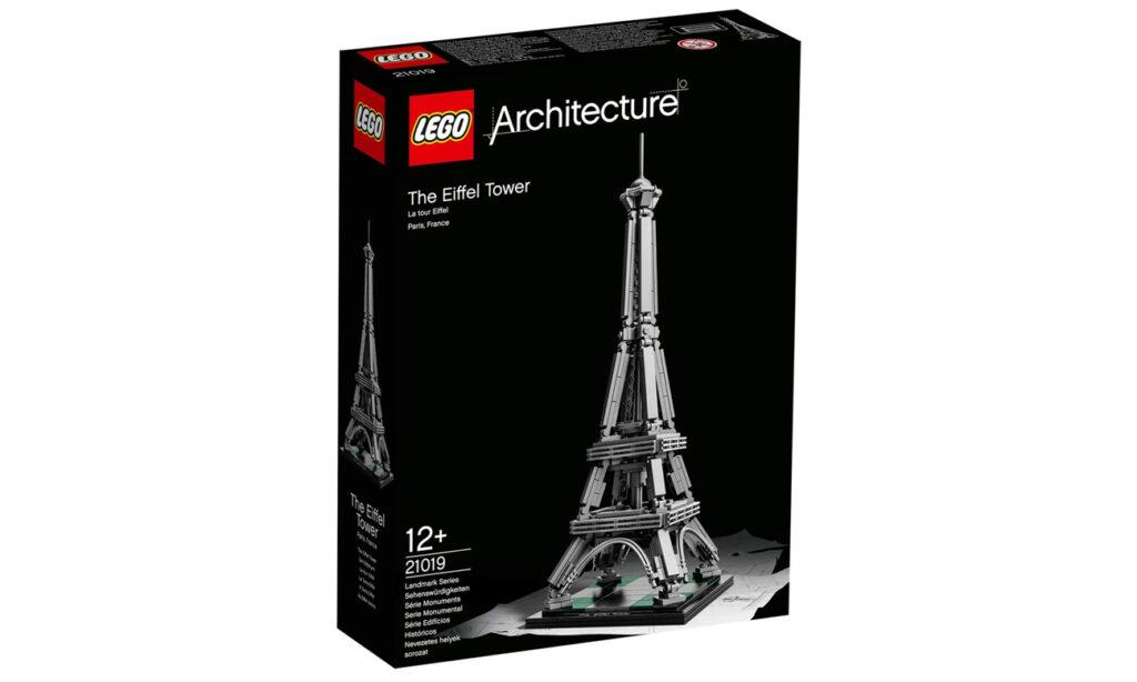 Klocki LEGO w kształcie wieży Eiffla.