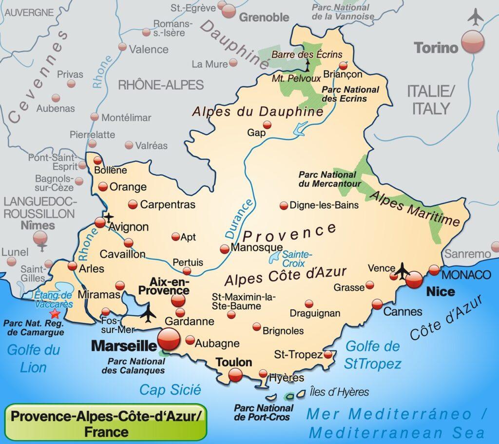 Mapa Prowansji