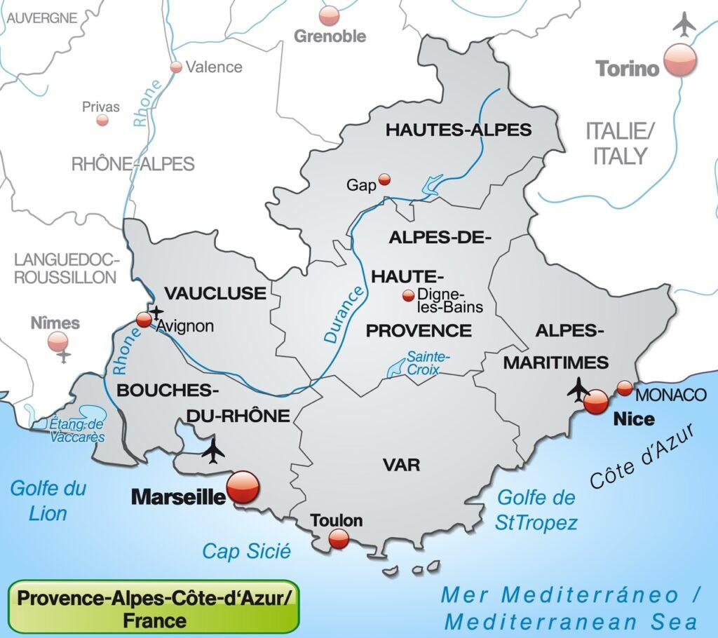 Mapa Prowansji i podział na departamenty